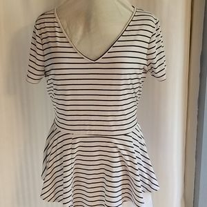 Elle Black and White Striped Peplum Top Large…